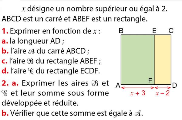 Calcul littéral : exercice de maths en troisième (3ème)