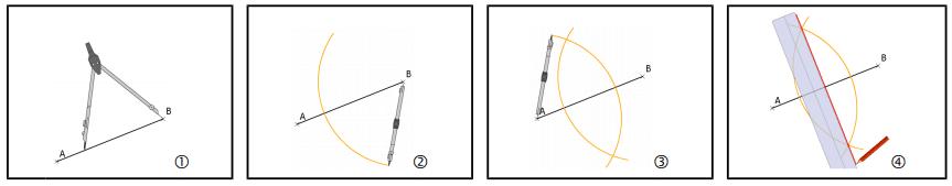 construction de la médiatrice d'un segment au compas et à la règle